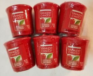Yankee Candle Votive Candles: CHERRIES ON SNOW Lot of 6 Wax Red Fruit Melt New