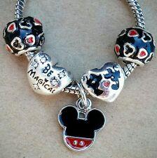 Disney Mickey Mouse Believe in Magic Kiss Minnie Hearts European Charm Beads Set