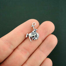 4 Rodeo Charms Antique Silver Tone Bucking Bronco - Sc4471