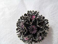 japanned metal w lg purple rhinestones Judy Lee signed vintage/pendant brooch w