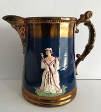 Victoria & Albert 1840 marriage commemorative copper lustre jug-15.5 cm high