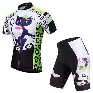 Women's Cycling Kit Bike Jerseys & Padded Shorts Set Bicycle Clothing Green Cat