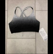 NWT Lululemon Sz 6 Energy Sports Bra Ombre Speckle Stop Jacquard Black White HTF