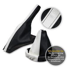 Schaltsack Schaltmanschette + Handbremssack für VW Golf 3  Leder weiß-schwarz