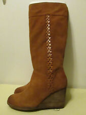 $219 Lucky Brand Sanna Bombay Brown Suede Leather Wedge Knee High Boots 8.5