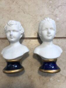 Capodimonte Figurine Bust Set Porcelain (2) Vintage