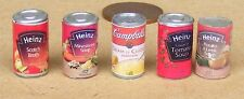 1:12 Scale Selection Of 5 Soup Tins Tumdee Dolls House Miniature Food Can ST1