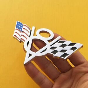 Silver V8 American US USA Flag Chrome Metal Front Emblem Badge For Chrysler GMC