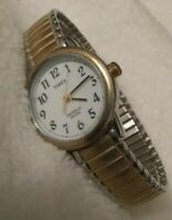 Women's TIMEX Easy Reader INDIGLO Two-Tone w Stretch Band & Fresh Battery!