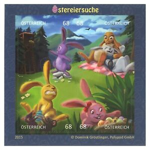 Austria 2015 Easter Egg Hunt Animation Mini Sheet of 4 Stamps Self-adhesive MUH