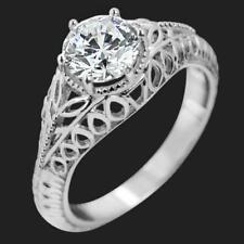 1.05Ct Antique Round Cut Moissanite Solitaire Engagement Ring 9Ct White Gold