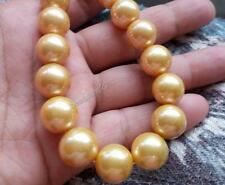 "20"" Stunning AAA++ 15mm south sea golden Natural pearl necklace 14k gold clasp"
