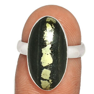 Pyrite In Basalt 925 Sterling Silver Ring Jewelry s.6 BR77470