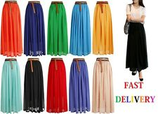 New Womens Elastic Waist Band Pleated Chiffon Long Maxi Skirt Underskirt*Lng