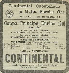 W5098 Tires Continental - Cup Prince Henry - Advertising 1910 - Advert