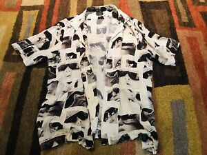 Ksubi Short Sleeve Button-Up White Shirt Men's Size Large Travis Scott Uzi