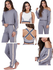 ASOS Women Girls Tracksuit Fitness Leggings Crop Top Gym Yoga  Sweatshirt