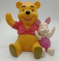 "Vintage Walt Disney Winnie The Pooh & Piglet Piggy Bank-Plastic 6"" Missing plug"