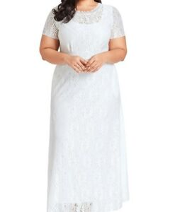 White Plus Size Beautiful Lace Wedding Gown Formal Dress XXL 3XL 4XL