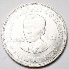PHILIPPINES : 1 PESO ARGENT 1963 ANDRES BONIFACIO
