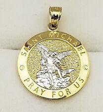 10K Yellow Gold Saint Michael The Archangel Pendant Charm Medal Small