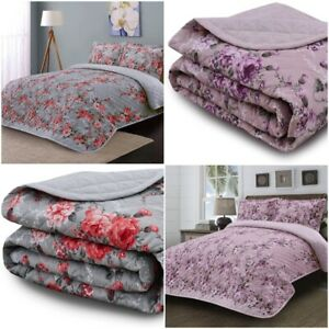 Luxury Printed  3 Pc Quilted Bedspread 200 Thread Count Light Weight Bedding Set