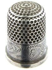Vintage Sterling Silver Chester England Assay Office With Monogram Thimble L810