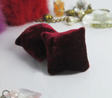 2PCS Wine Red Velvet Pillow For Sofa Couch Bed 1/12 Dollhouse Miniature Doll