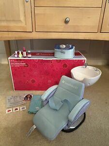 American Girl Doll Spa Chair Blue Accessories Foot Bath Water w/Sound Free Ship