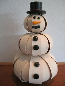 Longaberger Small Stacked Splint Snowman with Top Hat