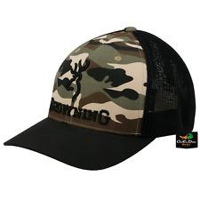 NEW BROWNING BRANDED MESH BACK FLEX FIT HAT BALL CAP BUCKMARK LOGO CAMO SM/MD