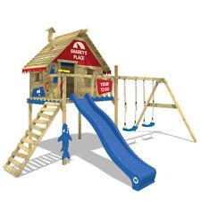 WICKEY Spielturm Stelzenhaus Baumhaus Smart Sky - rot/blau - Schaukel & Rutsche