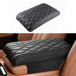 Wave Pattern Embroider Armrest Pad Cover Protection Cushion Fit For Car Black