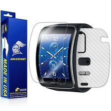 ArmorSuit MilitaryShield Samsung Gear S Screen Protector + White Carbon Skin NEW