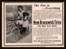 1897 B AD NEW BRUNSWICK TIRES PHOTO WOMAN BLOOMERS BICYCLE