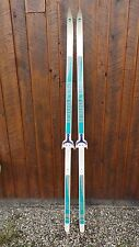 "Vintage Skis 77"" Long Original White Green Signed Peltonen Great for Decoration"