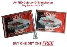 "Man United  Flag.18"" x 12"" MATERIAL. Old Trafford.UNITED flag. MUFC. man Utd"