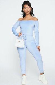 Fashion Nova Women NWT Need A Hug Velour Jumpsuit in Blue Size Med