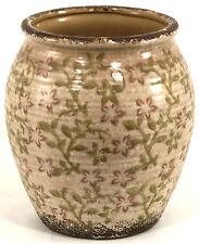 Distressed Floral Design Dusky Pink Ceramic Planter - Large JU009S