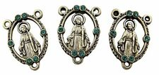 Silver Tone Base Our Lady of Grace Miraculous Medal Rosary Centerpiece, Set of 3