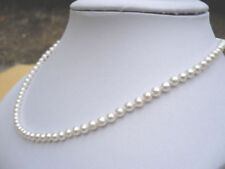 Stunning AAA+ 3-4mm Real natural Akoya white round pearl necklace 14k white Gold