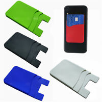 Silicone Credit Card Holder Pocket Sticker Adhesive Pouch Case For Cell Phone