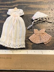 Dollhouse Miniature christening dress hanger hat shawl Artist Created EVA6