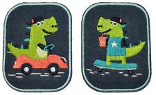 Cool Dino Iron On Sew Kids / Child Repair Knee Patch Set - 2x Patches