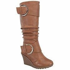 AZAM Womens Tan Fashion Slouchy Wrinkle Knee High Wedge Boots With Gold Accents