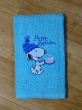 SNOOPY with CAKE Happy Birthday EMBROIDERED COTTON TOWEL Kitchen Bathroom