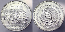 100 PESOS 1985 WORLD CUP SOCCER GAMES 1986 MESSICO MEXICO ARGENTO SILVER #942A