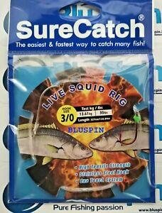 SURECATCH LIVE SQUID RIG TERMINALE TRAINA VIVO ~ 2 AMI ~ 327cm 30lbs ~ SIZE: 3/0