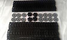 NEW GENUINE LEGO TECHNIC BLACK CATERPILLAR TRACK'S x 100 + DRIVE & GUIDE WHEEL'S