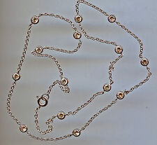 """925 SILVER SINGLE STRAND 3.50 CARAT TW 20"""" RUSSIAN CZ BY THE YARD NECKLACE"""